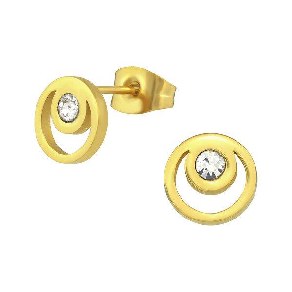 Montebello Oorbellen Bade Gold - Dames - 316L Staal PVC - Zirkonia - Rond - ∅8 mm-0
