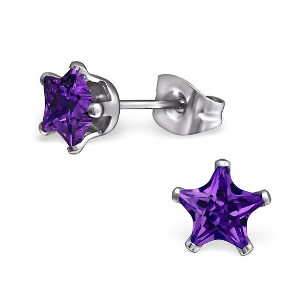 Montebello Oorbellen Baya Purple - Dames - 316L Staal PVC - Zirkonia - Ster - ∅6 mm-0