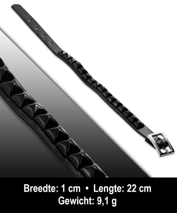 Amanto Armband Agus - Heren - Leer - Studs - 10 mm - 22 cm-11630