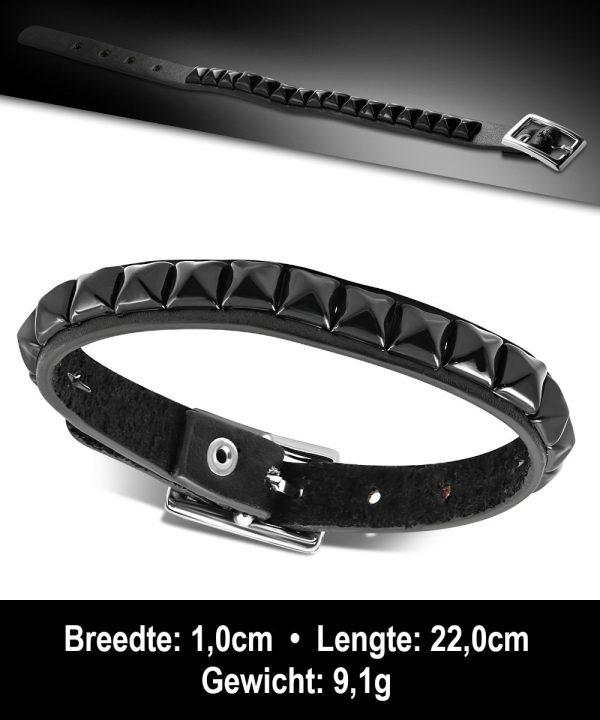 Amanto Armband Agus - Heren - Leer - Studs - 10 mm - 22 cm-11632