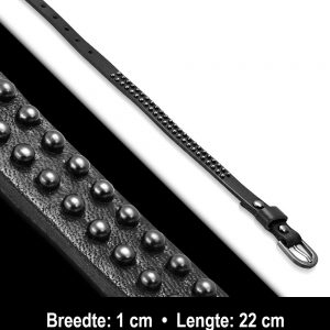 Amanto Armband Aisar - Heren - Leer - Studs - 12 mm - 26 cm-11761