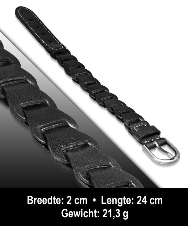 Amanto Armband Agim Black - Heren - Leer - 20mm - 24cm-11599