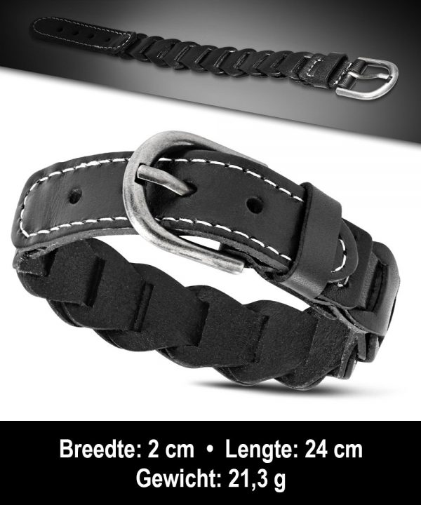 Amanto Armband Agim Black - Heren - Leer - 20mm - 24cm-11600