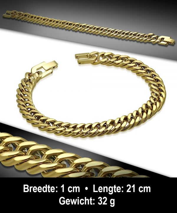 Amanto Armband Admin - Heren - 316L Staal Goud PVD - 12 mm - 21cm-11668