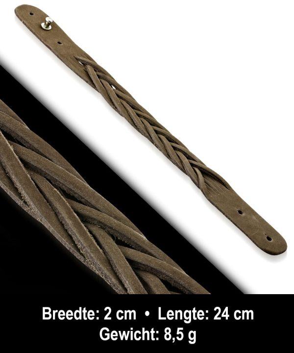 Amanto Armband Afram - Leer - Gevlochten - 20mm - 24cm-11642