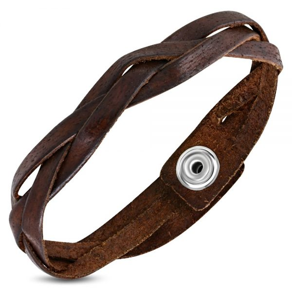 Amanto Armband Afzal Brown - Heren - Leer - 15 mm - 22 cm-0