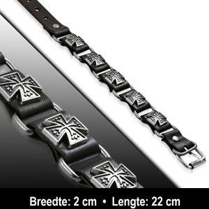 Amanto Armband Aissa - Heren - Leer - Studs - Kruis - 20 mm - 22 cm-11604