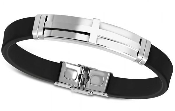 Amanto Armband Abhi - Heren - 316L Staal - Rubber - Kruis-0
