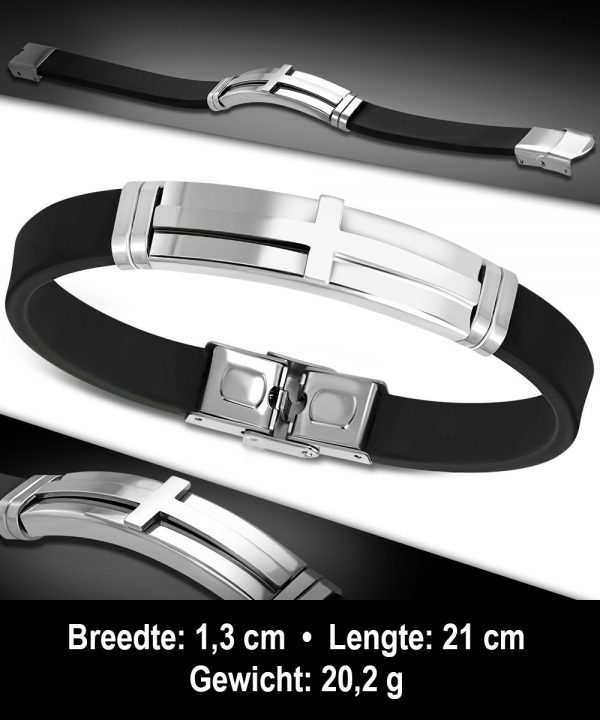Amanto Armband Abhi - Heren - 316L Staal - Rubber - Kruis-11736