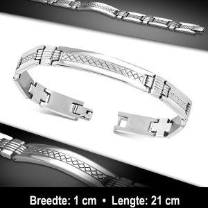 Amanto Armband Aarian - Heren - 316L Staal - Grieks Patroon-11750