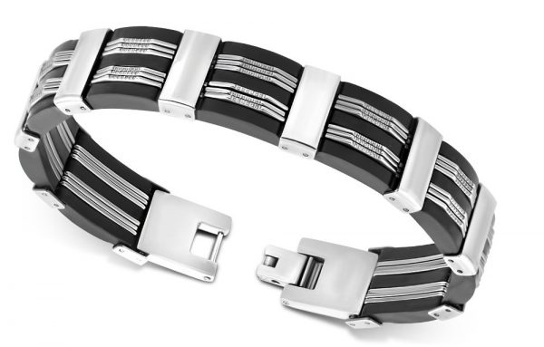 Amanto Armband Adisan - Heren - 316L Staal - Rubber - 14 mm - 21cm-11676