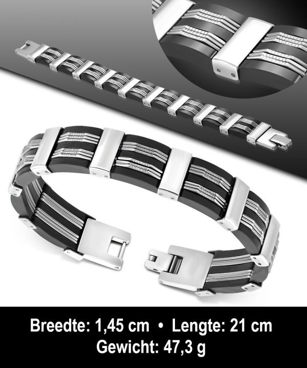 Amanto Armband Adisan - Heren - 316L Staal - Rubber - 14 mm - 21cm-11677
