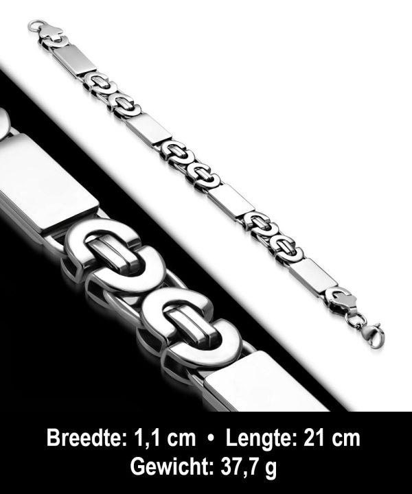 Amanto Armband Adam - Heren - 316L Staal - 11 mm - 21 cm-11703