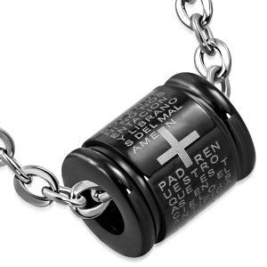 Amanto Ketting Amjad Black - Heren - 316L Staal - Kruis - Tekst - 50 cm-0