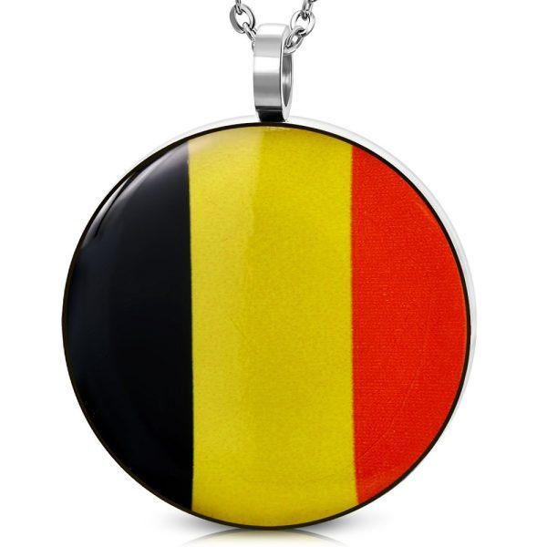 Amanto Ketting Aljan - Heren - 316L Staal - Rond - Belgische Vlag - 60cm-0