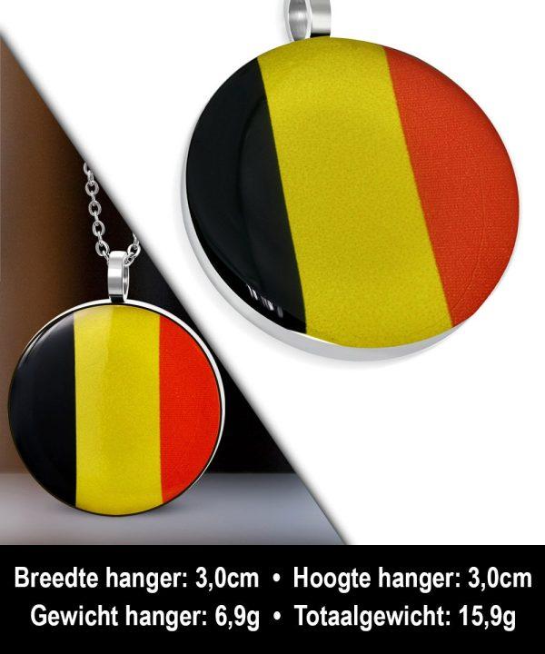 Amanto Ketting Aljan - Heren - 316L Staal - Rond - Belgische Vlag - 60cm-11885