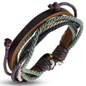 Amanto Armband Ajani Brown - Heren - Leer - Touw - ∅20 - 23 cm-0