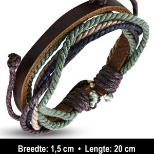 Amanto Armband Ajani Brown - Heren - Leer - Touw - ∅20 - 23 cm-11585