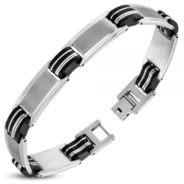 Amanto Armband Abram - Heren - 316L Staal - Rubber - 12 mm - 22 cm-0