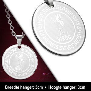 Amanto Ketting Maagd - Heren - 316L Staal - Horoscoop - ∅ 30 mm - 60 cm-12168