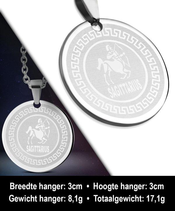 Amanto Ketting Boogschutter - Heren - 316L Staal - Horoscoop - ∅ 30 mm - 60 cm-12160