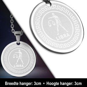 Amanto Ketting Weegschaal - Heren - 316L Staal - Horoscoop - ∅ 30 mm - 60 cm-12146