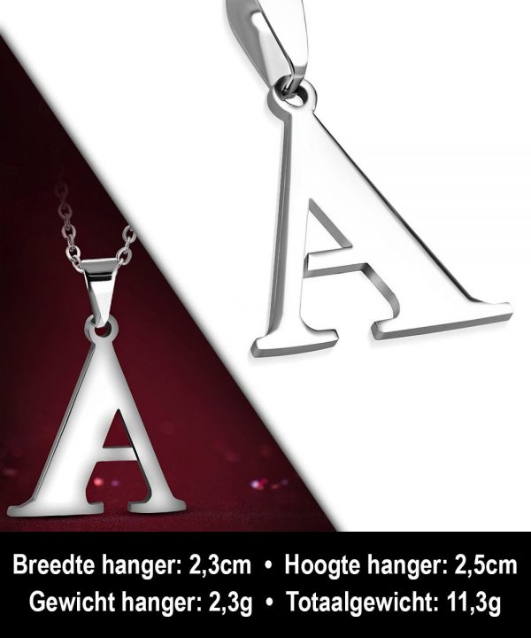 Amanto Ketting Letter A - Heren - 316L Staal - Alfabet - 23 x 25 mm - 60 cm-12126