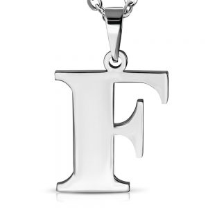 Amanto Ketting Letter F - Heren - 316L Staal - Alfabet - 23 x 25 mm - 60 cm-0