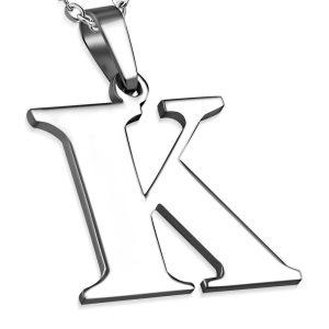 Amanto Ketting Letter K - Heren - 316L Staal - Alfabet - 24 x 25 mm - 60 cm-0