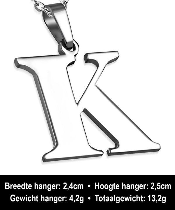 Amanto Ketting Letter K - Heren - 316L Staal - Alfabet - 24 x 25 mm - 60 cm-12077