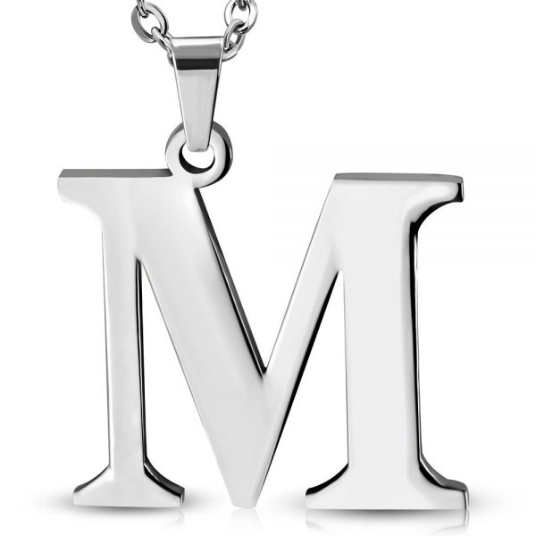 Amanto Ketting Letter M - Heren - 316L Staal - Alfabet - 22 x 25 mm - 60 cm-0