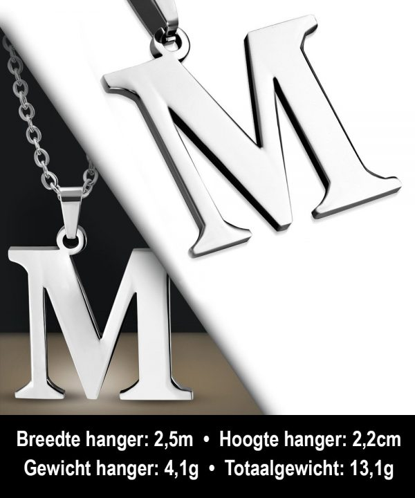 Amanto Ketting Letter M - Heren - 316L Staal - Alfabet - 22 x 25 mm - 60 cm-12130