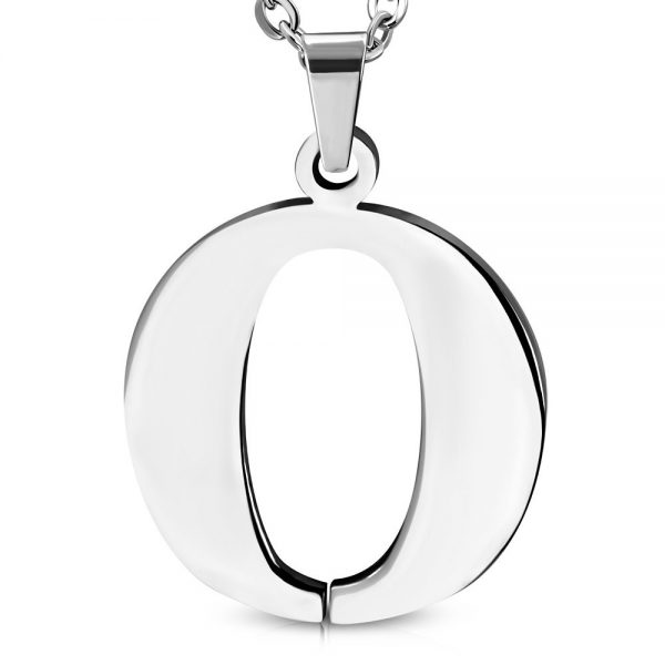 Amanto Ketting Letter O - Heren - 316L Staal - Alfabet - 21 x 22 mm - 60 cm-0