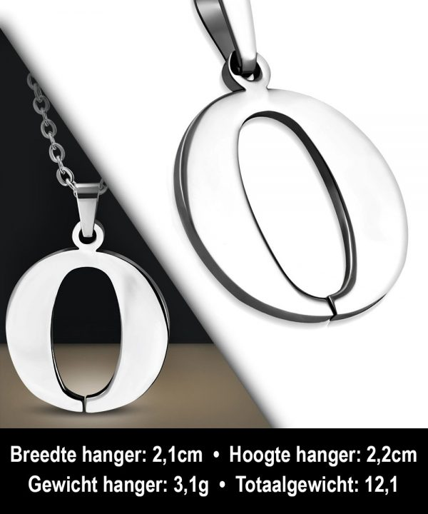 Amanto Ketting Letter O - Heren - 316L Staal - Alfabet - 21 x 22 mm - 60 cm-12066