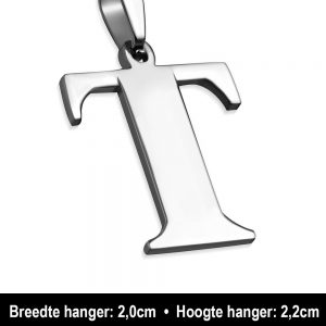 Amanto Ketting Letter T - Heren - 316L Staal - Alfabet - 20 x 22 mm - 60 cm-12122