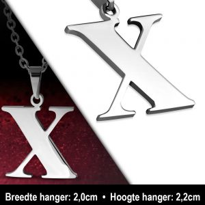 Amanto Ketting Letter x - Heren - 316L Staal - Alfabet - 20 x 22 mm - 60 cm-12090