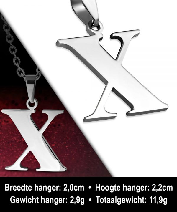 Amanto Ketting Letter x - Heren - 316L Staal - Alfabet - 20 x 22 mm - 60 cm-12090