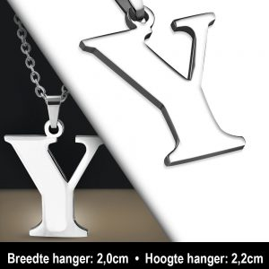 Amanto Ketting Letter Y - Heren - 316L Staal - Alfabet - 20 x 22 mm - 60 cm-12102
