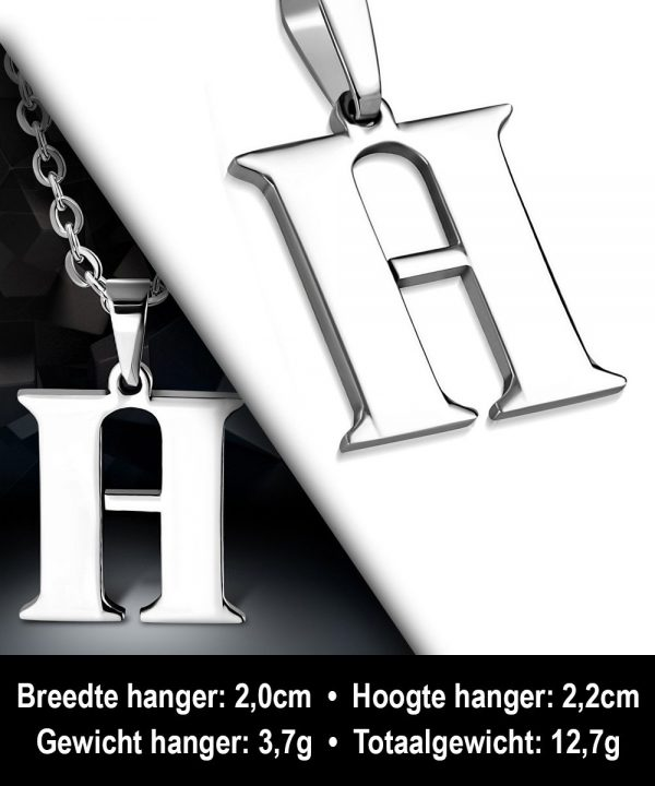 Amanto Ketting Letter H - Heren - 316L Staal - Alfabet - 22 x 20 mm - 60 cm-12138