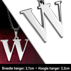 Amanto Ketting Letter W - Heren - 316L Staal - Alfabet - 27 x 22 mm - 60 cm-12106