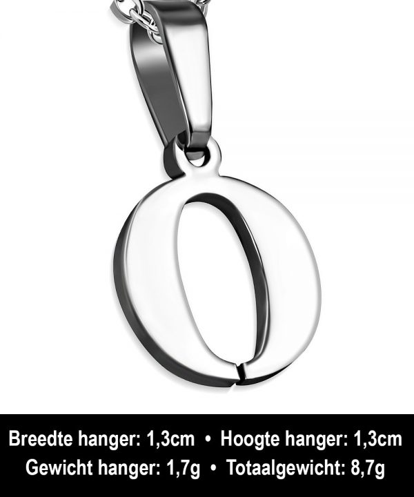 Amanto Ketting Letter O - Heren - 316L Staal - Alfabet - 13 x 13 mm - 50 cm-12025