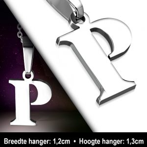 Amanto Ketting Letter P - Heren - 316L Staal - Alfabet - 12 x 13 mm - 50 cm-12009