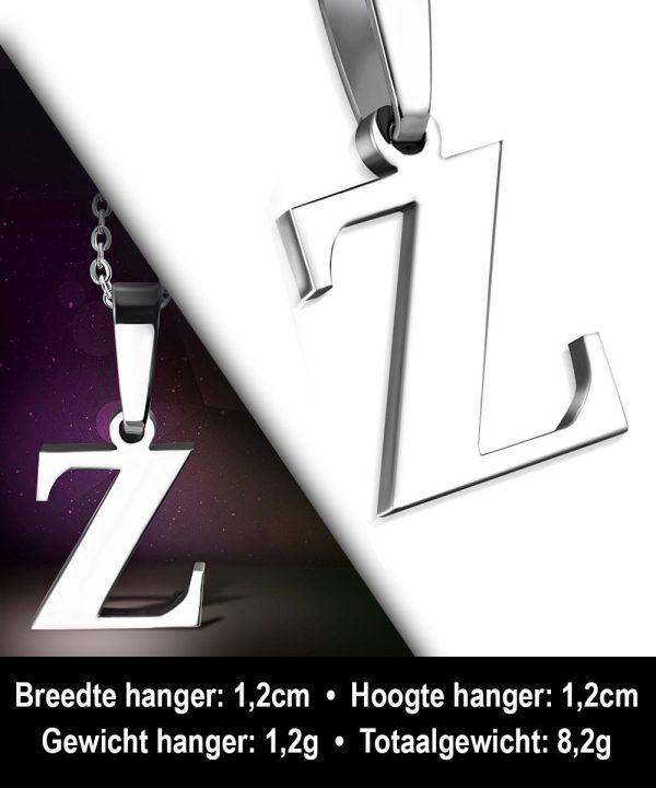 Amanto Ketting Letter Z - Heren - 316L Staal - Alfabet - 12 x 13 mm - 50 cm-12033