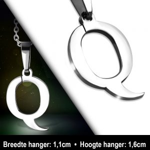 Amanto Ketting Letter Q - Heren - 316L Staal - Alfabet - 11 x 16 mm - 50 cm-12037