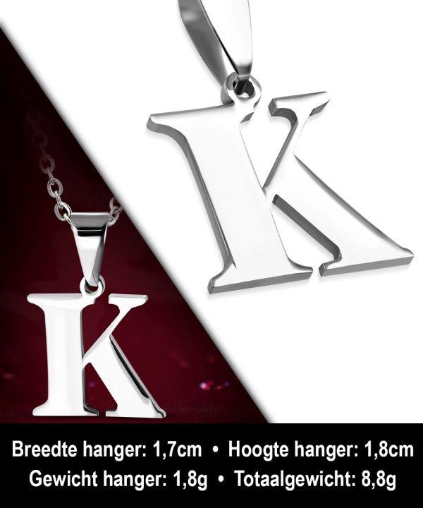 Amanto Ketting Letter K - Heren - 316L Staal - Alfabet - 17 x 18 mm - 50 cm-12001