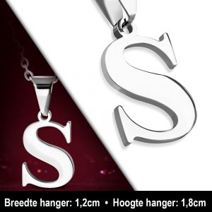 Amanto Ketting Letter S - Heren - 316L Staal - Alfabet - 12 x 18 mm - 50 cm-12005