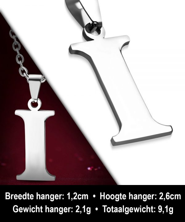 Amanto Ketting Letter I - Heren - 316L Staal - Alfabet - 12 x 26 mm - 60 cm-12114