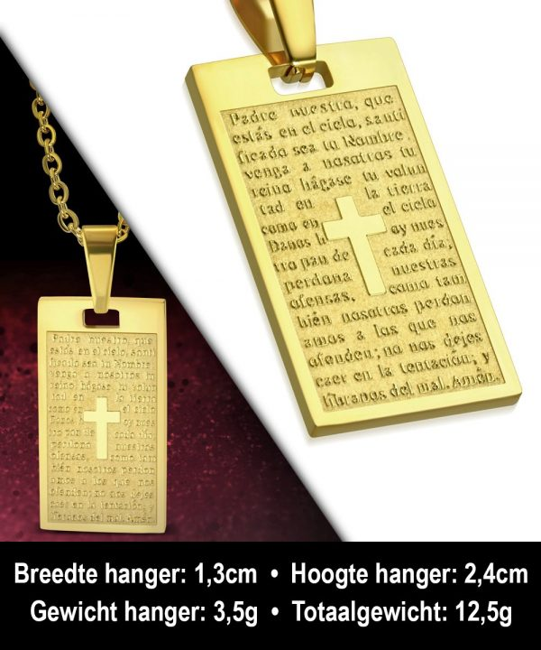 Amanto Ketting Amdy - Heren - 316L Staal - Tekst - Dogtag - 56 cm-11965