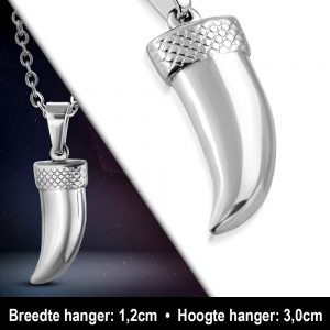 Amanto Ketting Alban - Heren - 316L Staal - Tand - 30 x 12 mm - 60 cm-11813
