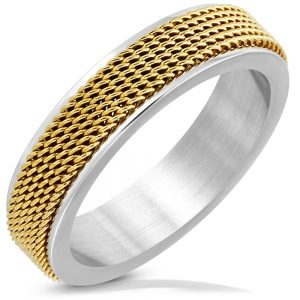 Amanto Ring Akram Gold - Heren - 316L Staal - Mesh Band - 6 mm -11562